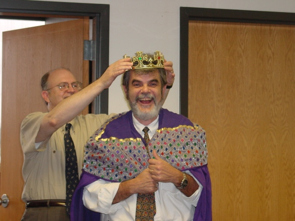 "Dean of Science Joe Newton, being ""crowned"" by Executive Associate Dean Michael Hall in 2002, when he officially became Dean of the College of Science at Texas A&M University. In January, Dr. Newton celebrated his 15th year of service as a member of the Texas A&M Science Dean's Office."
