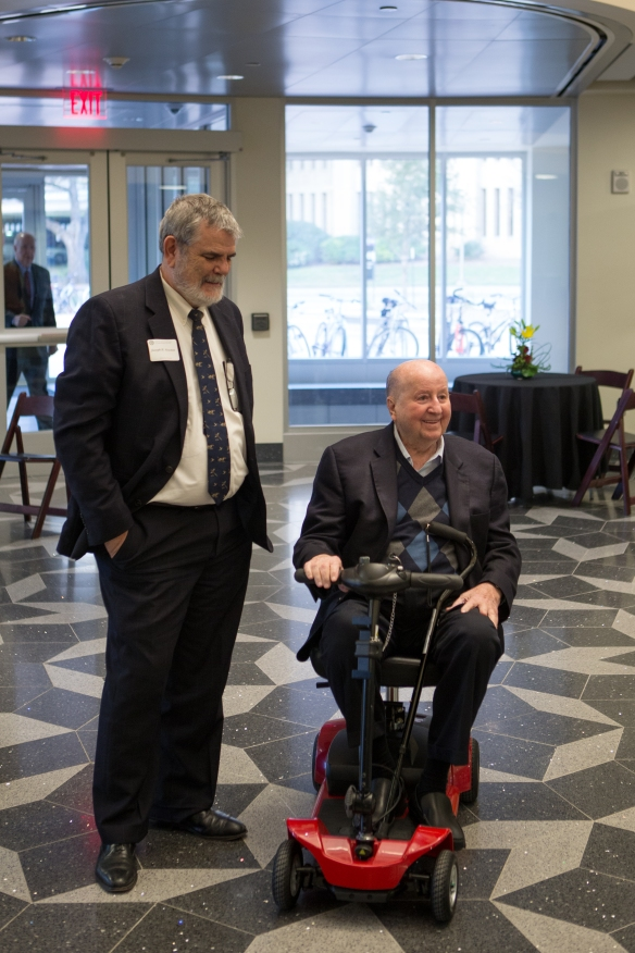 Dean of Science Joe Newton and George P. Mitchell '40 prior to a November 2012 event celebrating his $20 million legacy gift to his namesake George P. and Cynthia Woods Mitchell Institute for Fundamental Physics and Astronomy at Texas A&M.