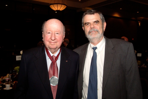 George P. Mitchell '40 and Dean of Science Joe Newton at the 2006 Sterling C. Evans Medal ceremony.