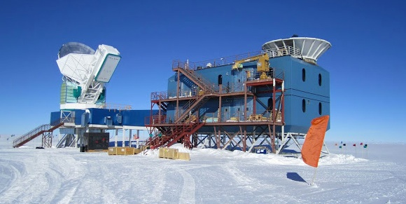 BICEP2 telescope at South Pole. (Credit: Harvard CMB Group)