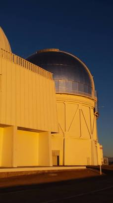 The 4m Blanco telescope at sunset.