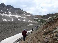 Hiking among the mountains, rock glaciers, pine trees, glacial lakes, etc.