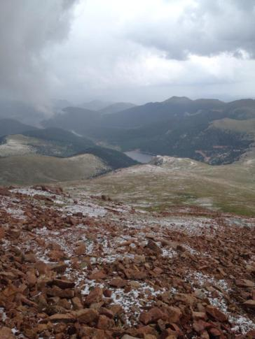 From the top of Pike's Peak. We came through hail and are in clouds, so not much view from here. But lightning all around caused people's hair to stand up.