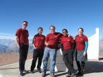 Jennifer Marshall, associate research scientist in Physics and Astronomy, and her team sport custom-made shirts to commemorate the installation of the Atmospheric Transmission Monitoring Camera (aTmCam) in Chile.