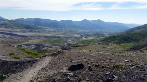 Looking down the valley where the debris flow went down. In some places, the streams have already cut 200 feet down. Volcano is to the left. (Credit: Wolfgang Bangerth.)