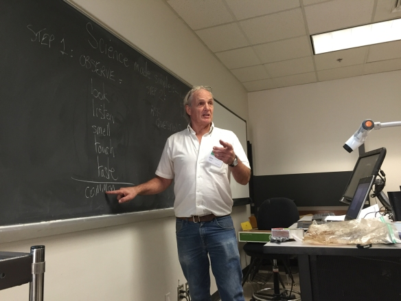 "Texas A&M Center for Mathematics and Science Education (CMSE) research scientist Craig Wilson makes science simple for his ""Expanding Your Horizons"" audience by outlining his proven two-step method: observe and ask questions. (Credit: Chris Jarvis.)"
