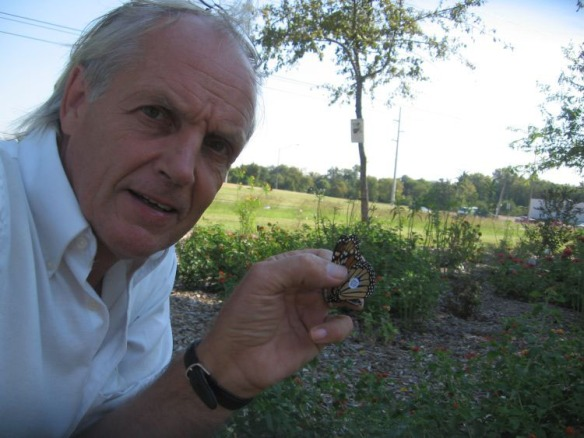 Texas A&M researcher and longtime butterfly enthusiast Dr. Craig Wilson, pictured with a tagged Monarch butterfly within his U.S. Department of Agriculture (USDA)-sponsored People's Garden, located across the street from College Station's Wolf Pen Creek Park. (Credit: Craig Wilson.)