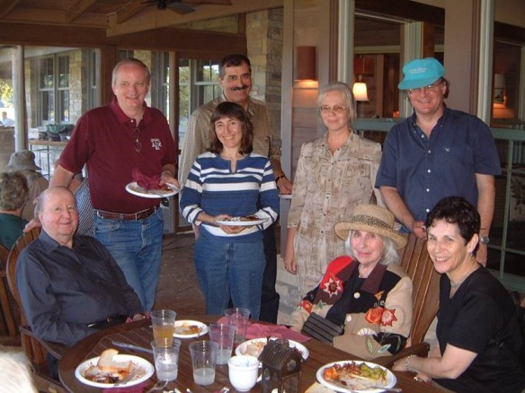 (From left:) George P. Mitchell '40, Ed Fry, Wendy Freedman, Rocky Kolb, Olga Kocharovskaya, Cynthia Mitchell, Tod Lauer and Debbie Fry. (Credit: Edward S. Fry.)