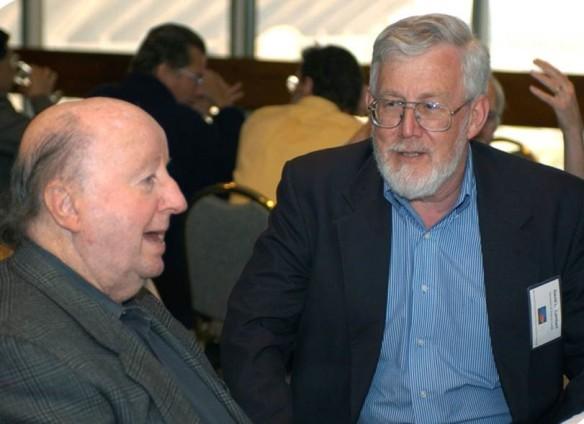 George P. Mitchell '40 and David Lambert. (Credit: Edward S. Fry.)